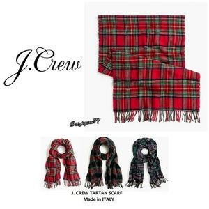 NWT, J. Crew, Red Tartan Plaid Fringed Scarf